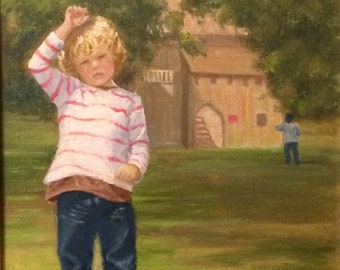 Original Oil Painting 'Small boy in a playpark'