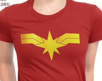 b9456f333 Captain Marvel Gold logo Custom T-shirt, Disney Women T-shirt. Girl power  shirt. Marvel T-shirt
