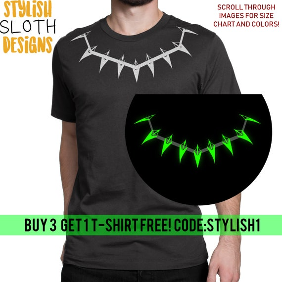 7f7f4a24d Glow in the dark Black Panther Necklace T shirt Unisex Women | Etsy
