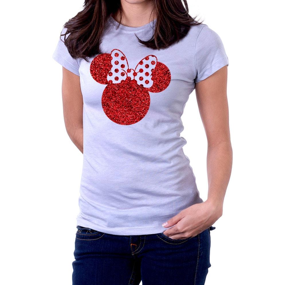 6f1ec12e Glitter Minnie Mouse Bow Disney T shirt Women T-shirt   Etsy