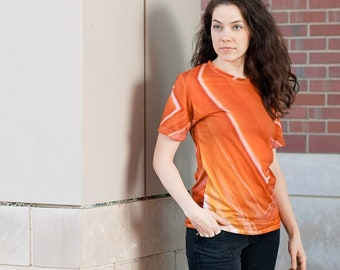 Orange Striped Agate Unisex T-shirt_Orange Rock Pattern_Crystal Clothing_Agate Gem Relaxed Fit Shirt_Gem lover gifts_Stone Art Lover Gift