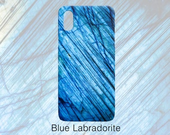 Blue Labradorite Gemstone Pattern Phone Case, Mineral Rock Print, Rockhound gift, iPhone X, 7/8P, 7/8/6/6sP/6P/6s, Galaxy S7/S7 Edge/S8/S9