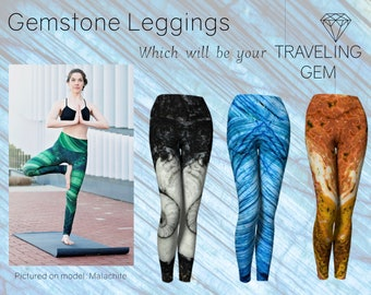 Gemstone Leggings, Full Length, Crystal Print Active Wear, Stone Design Yoga Pants, Mineral Rock Apparel, Printed Yoga Leggings, Sublimation