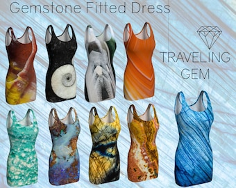 Gemstone Print Fitted Dress, Crystal Design Clothing, Macro Mineral Patterns, Stone Pattern Outfit, Gem Bodycon Dress, Rock Art Apparel