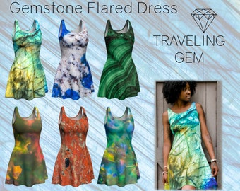 Gemstone Print Flared Dress, Gemstone Art Attire, Macro Mineral Patterns, Stone Pattern Outfit, Gem Girl Gift, Rock Art Apparel