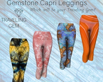 Gemstone Capri Leggings, Crystal Print Yoga Pants, Mineral Rock Active Wear, Stone Printed Yoga Leggings, Sublimation Print Gem Art Leggings