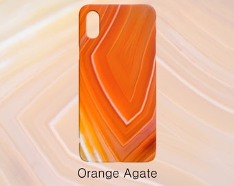 Orange Agate Gemstone Pattern Phone Case, Mineral Rock Print, Rockhound gift, iPhone X, 7/8 P, 7/8, 6/6s P, 6/6s-Galaxy S7, S7 Edge, S8, S9