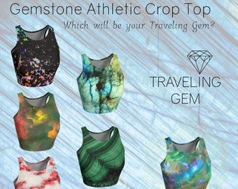 Gemstone Print Crop Top, Macro Gemstone Pattern, Athletic Yoga Wear, Exercise Top, Workout Shirt, Stone Pattern Clothing, Malachite, Calcite