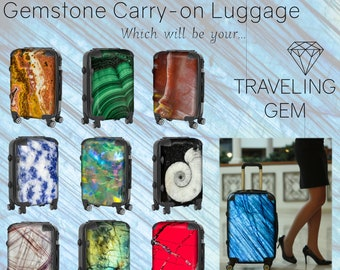 Gem Pattern Carry-on Luggage - Crystal Design Suitcase - Rock Art Travel Gear - Stone Print Carry On Case - Geologist Present - Witch's Gift