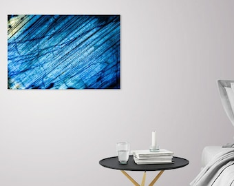 Blue Labradorite Wall Decor_Minimalist Aqua Canvas Print_Metal Stone Design Poster_Geologist Gift_Witch Haven Decor_Healing Crystal Artwork