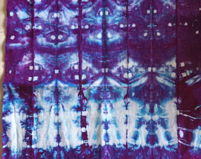 Featured listing image: Essex Linen Cotton, Shibori style AB, Blue Violet, (half yard) LCBV3.17