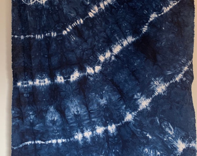 Featured listing image: linen cotton, LC19.3, hand dyed shibori pleats, navy blue, no two Exactly alike, 1 yard, 36x52