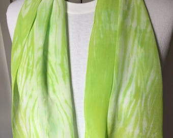 Silk Scarf, Silk crepe de chin, lime green arashi, 14 x 70, SC8.23.4