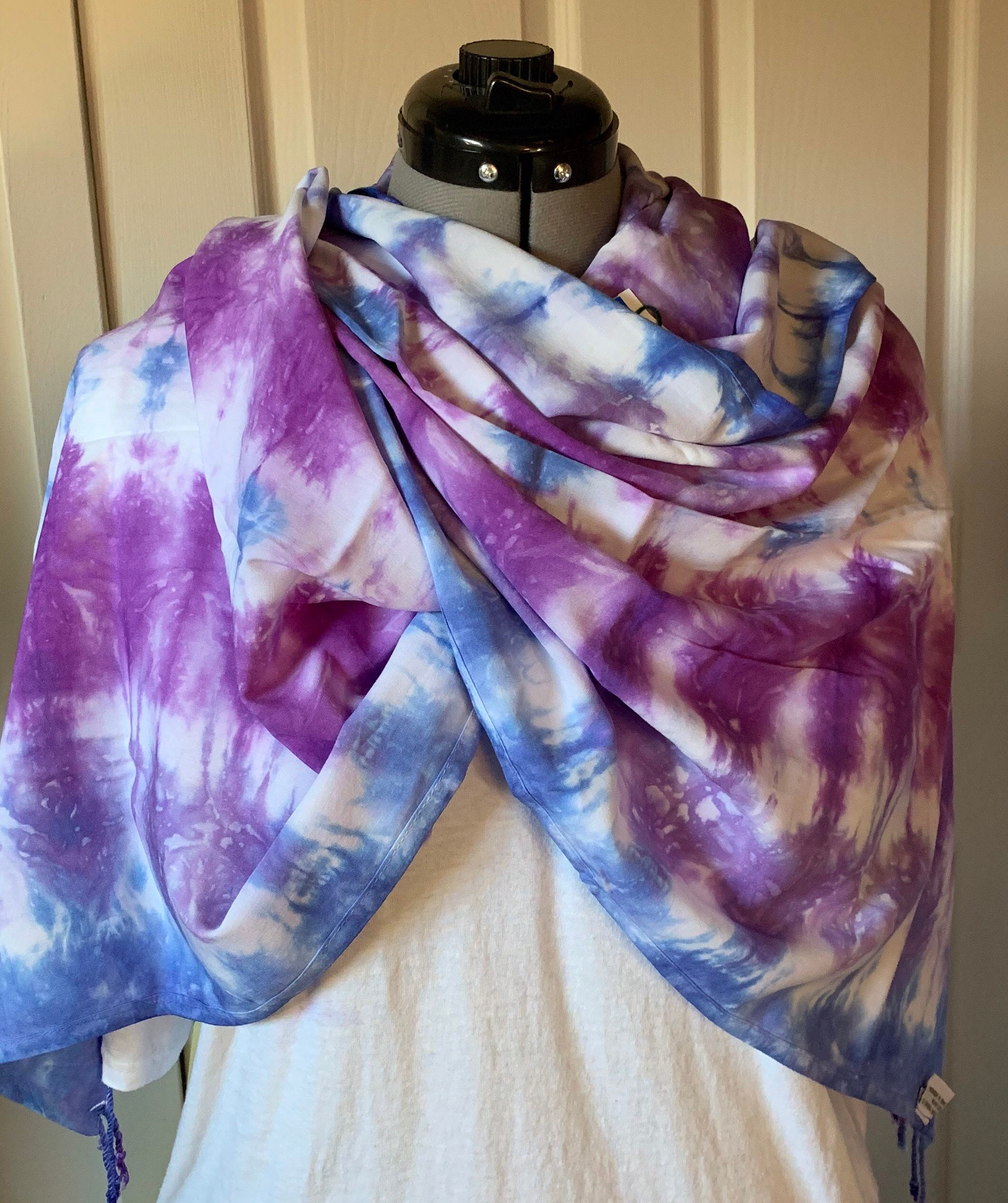 84e0732de Wide scarf, rayon with fringe, royal blue and purple, shibori, 20 x 70