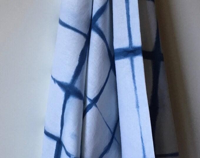 Featured listing image: Essex linen Cotton, (LC7.1), Indigo Blue, windowpane Shibori, Itijame squares, 1yard (36 x 54)