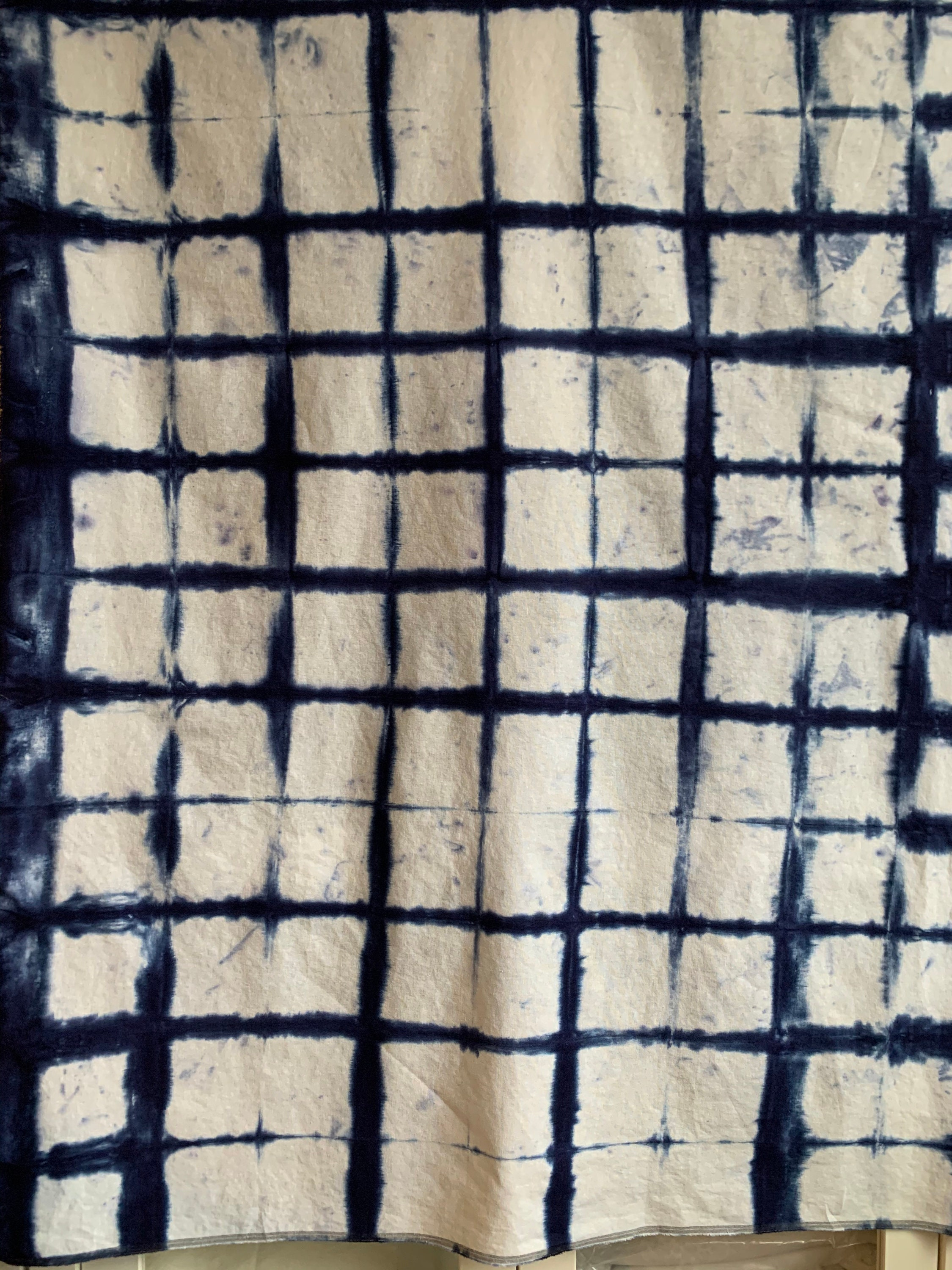 1 yard shibori hand dyed in yellows and oranges 36 x 52 Essex linen Cotton