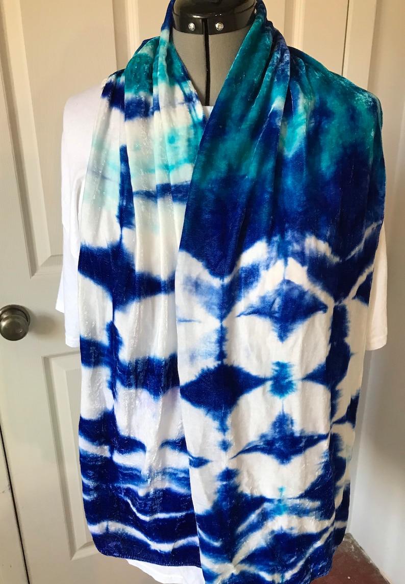 120819ab9 Velvet silk scarf 13 x 70 V18.1 royal blue and bahama blue | Etsy
