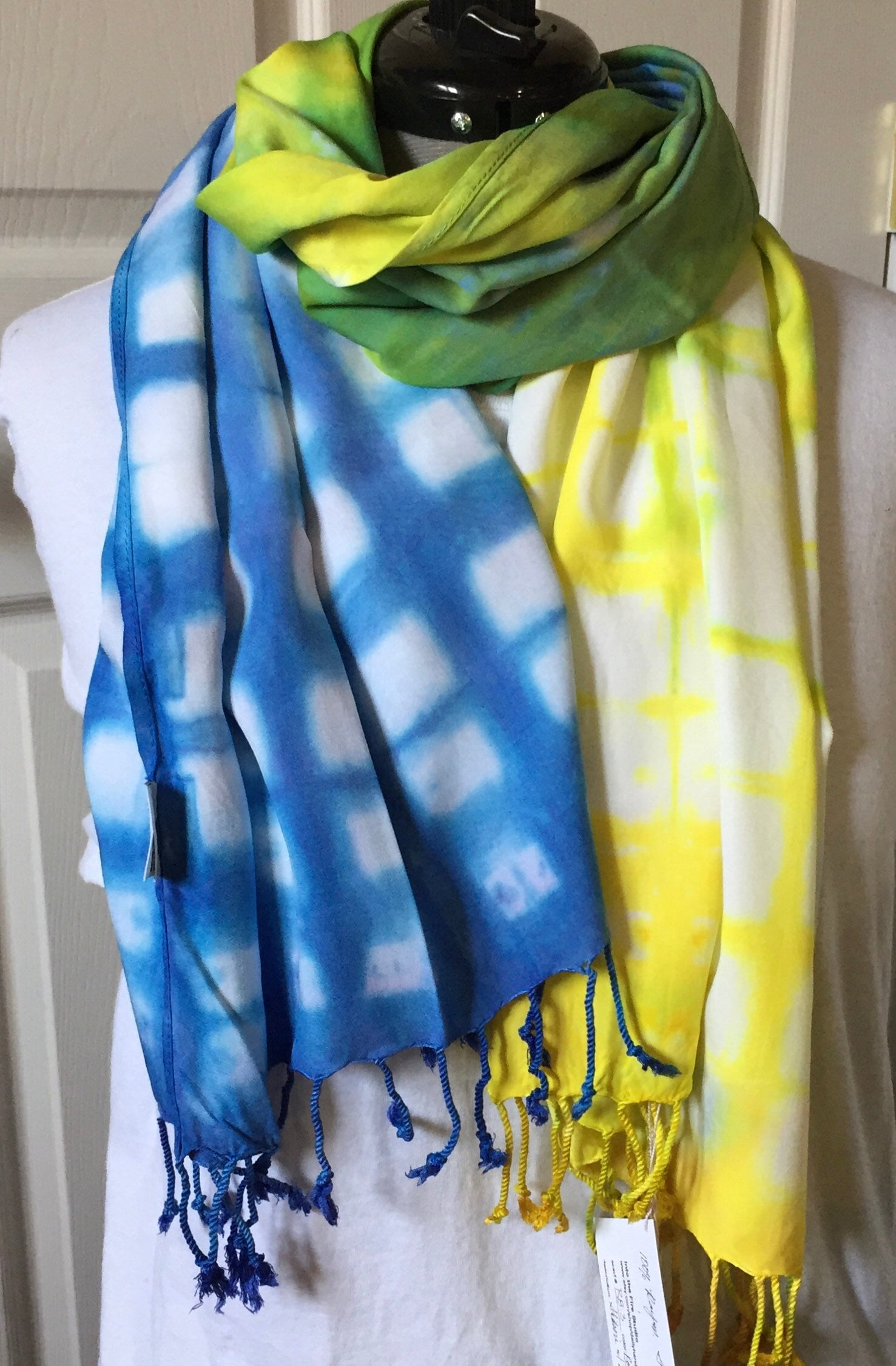 ab86cbe5d Wide Scarf, (WR8.3), Rayon with fringe, shawl scarf, Royal blue and Yellow  with crossover green, Shibori 20 x 70