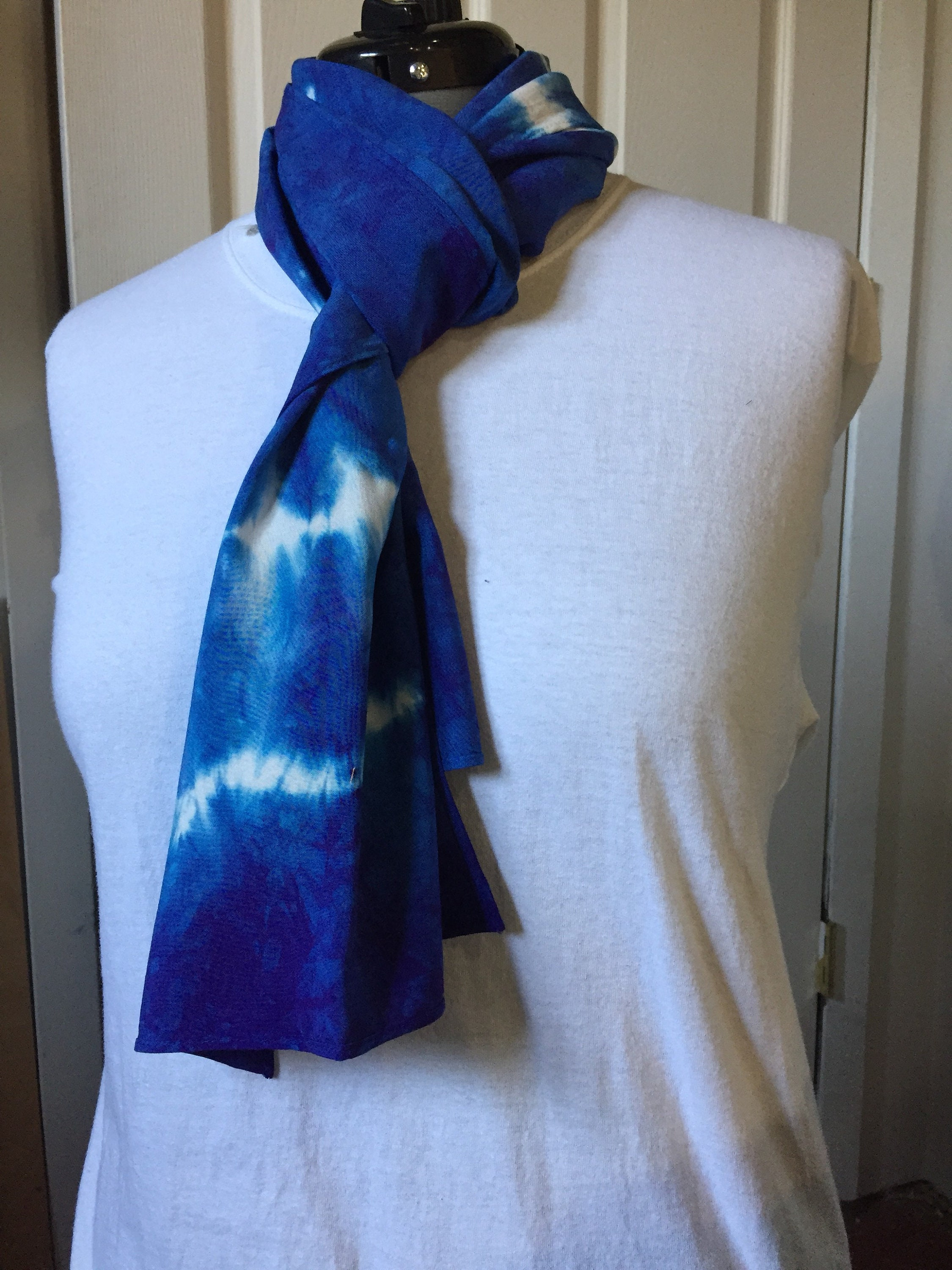 33e013787 Bamboo rayon, (BR7.30), bamboo rayon scarf, Dyed using shibori techniques  in royal blue. 14 x 70