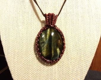 Rare blue tiger eye cabochon pendant necklace