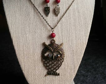 Brass Owl Necklace and Earrings set