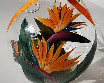 Hand Painted Glass Terrarium Ornament Fluttering Birds of Paradise