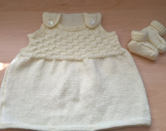 Hand Knitted Girl's dress set