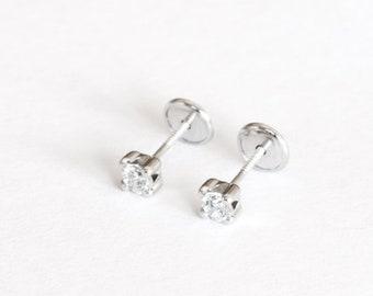 d7e7d6c43 Solid 925 Silver Stud Screw Back Earrings Girls teenager Women zirconia Stud  Earrings