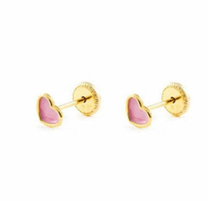 69916ab2084a5 Solid 18K Yellow Gold Stud Screw Back Earrings Baby Toddler Children Girls  Women heart Stud Earrings, post earrings