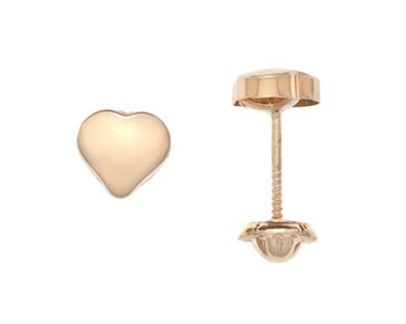 e81c122be5c6 Solid 18k gold Stud Earrings heart shape for girls and women