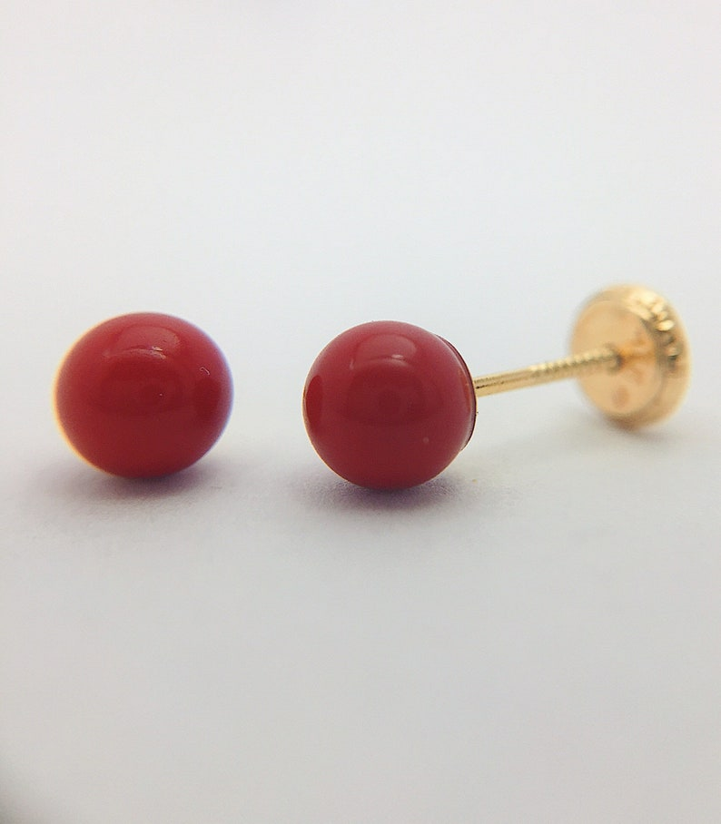 498794faa Solid 18k gold Stud Earrings red ball shape for girls and | Etsy