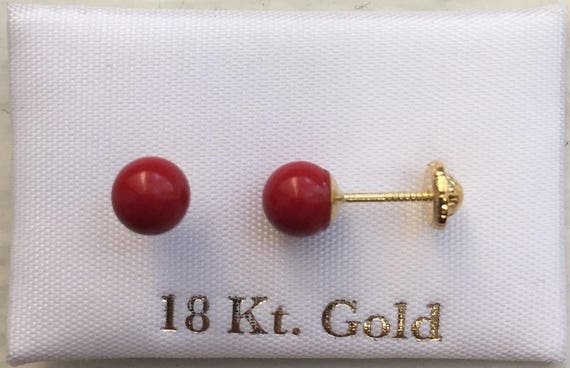 521455b14 solid 18k gold Stud Earrings red ball shape for toddler girls | Etsy