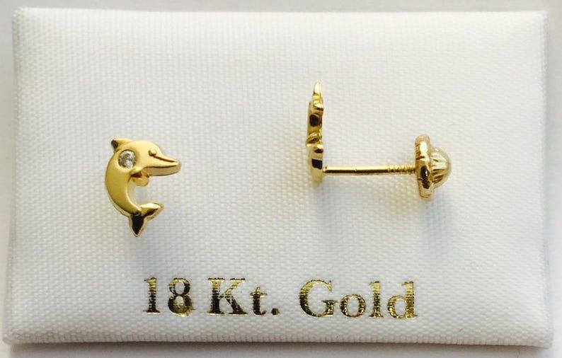 b40381cce871 Pendientes o aretes oro 18k para niña y chica en forma delfin
