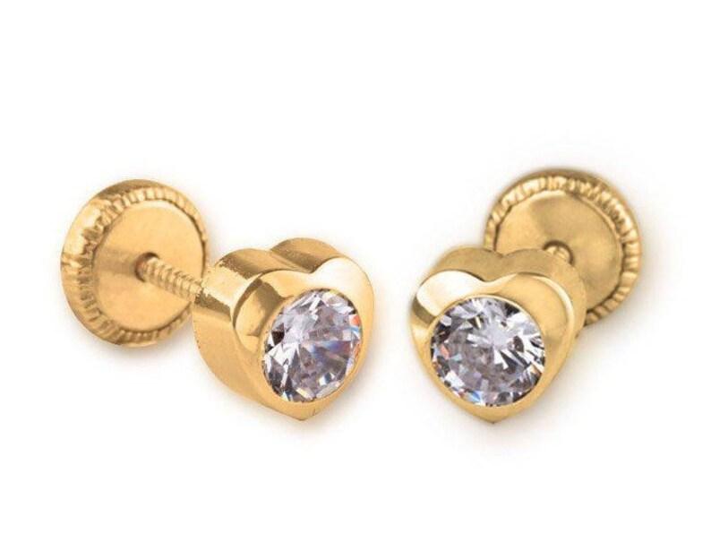 2db9218a29fd6 Solid 18K Yellow Gold Stud Screw Back Earrings Baby Infants Toddler  Children zircon Stud Earrings with heart shape