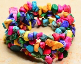 Chips dyed shell - stretch bracelet