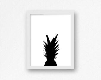 Pineapple Silhouette PRINTABLE Poster, Top of Pineapple, Pineapple Home Decor, Pineapple Kitchen Decor, Beach Decor, Tropical Decor