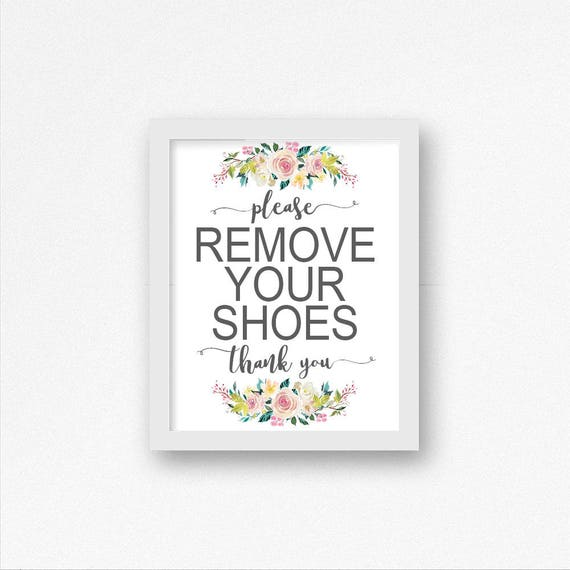 picture about Please Remove Your Shoes Sign Printable named Floral Remember to Eliminate Your Sneakers Printable Signal, Watercolor, Sneakers Off Indicator, Entryway Indication, Mud Area Decor, Accessibility Indicator, Take away Footwear Indication