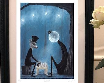 Limited Edition Giclée Print - Halloween Wall art - Pop Surrealism Art - Werewolf print