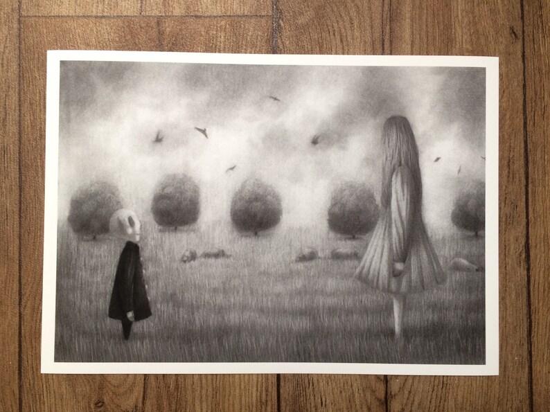 Skull Girl Giclee Print Acrylic Portrait Painting Pop Art SurrealismGothic Viva Los Muertos Dark HairBlackRed LilacPurpleBlue