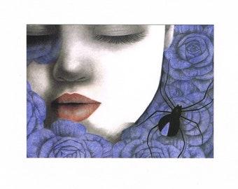 12.12.2016 rose - carte postale - Illustration - Art - cadeau
