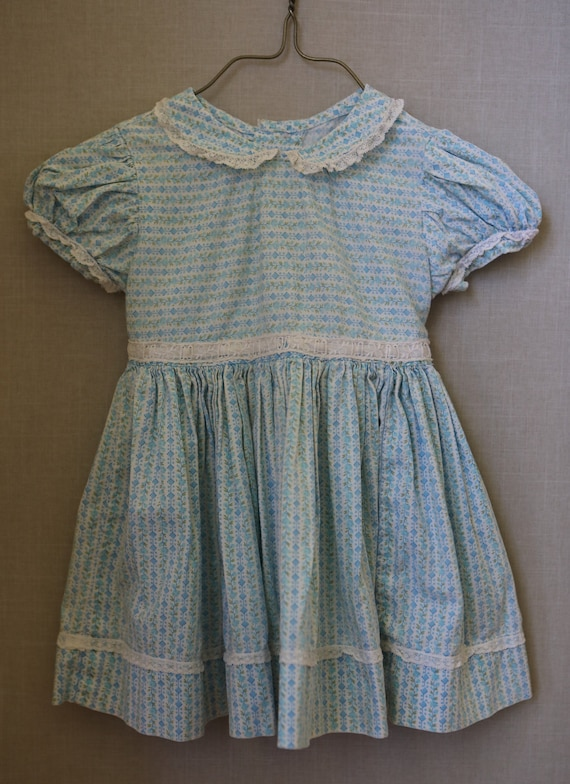 Baby Girl 1950s Cotton Dress Blue Floral Handmade