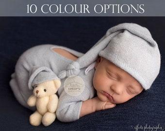 BoyGirl knit onesie /& sleep hat Plain solid colour footless sleeveless newborn pj/'s Gender neutral photography outfit Newborn romper SET