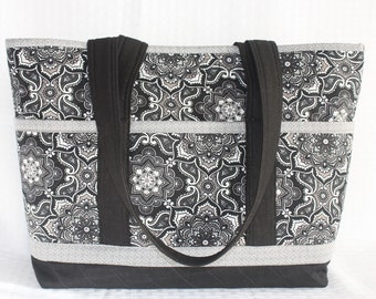 Black & White with hints of Grey Bold Print Handmade Quilted Tote Bag