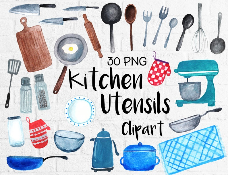 Watercolor Kitchen Utensils Clipart Baking Kitchen Tool Clipart Cooking Clipart Kitchen Doodle Watercolor Painting