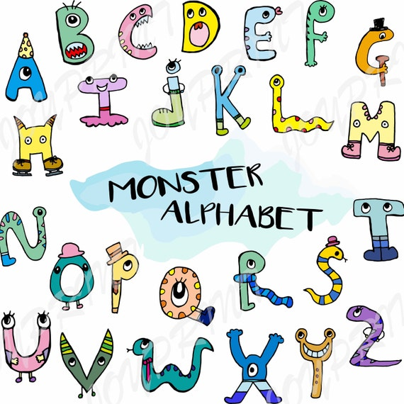 alphabet clipart monster alphabet graphics abc letters etsy