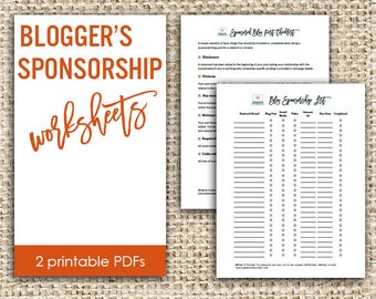 Blog Sponsorship Worksheets - Sponsored Post List and Checklist