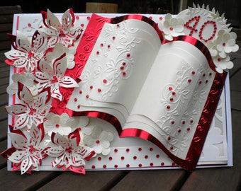 40th Anniversary Card/Ruby/Handmade/Personalised