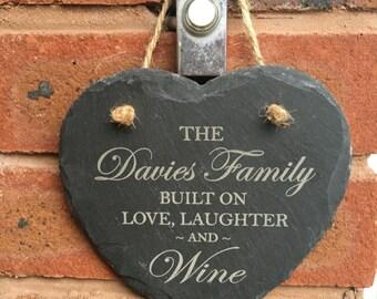Heart slate wall plaque