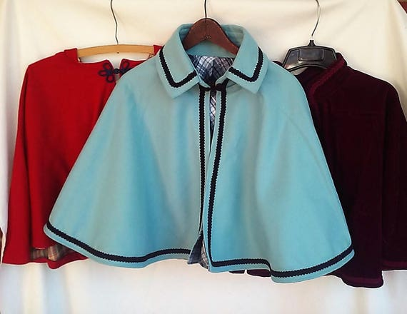 Victorian Clothing, Costumes & 1800s Fashion Ladies wool and velveen capelets $60.00 AT vintagedancer.com