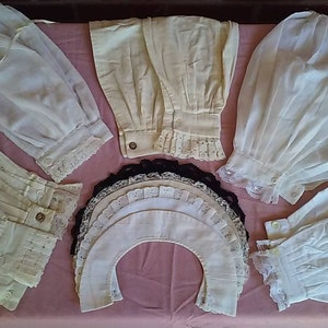 Victorian Blouses, Tops, Shirts, Vests, Sweaters     Victorian ladies collars and undersleeves in linen muslin flannel and sheer $10.00 AT vintagedancer.com